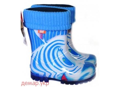 Детские резиновые сапоги - DEMAR TWISTER LUX PRINT-hh 0039, Зебра синяя