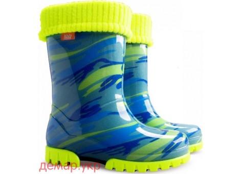 Детские резиновые сапоги - DEMAR TWISTER FLUO-d 0034, Мозайка голубо-желтые