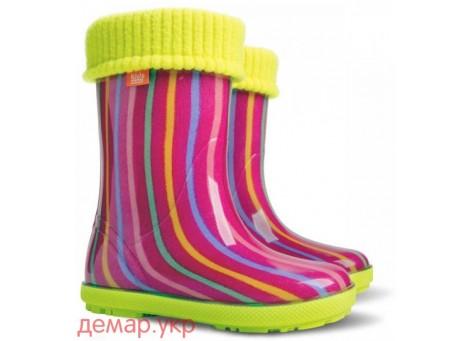 Детские резиновые сапоги - DEMAR HAWAI LUX PRINT-ag 0048, Цветная полоска