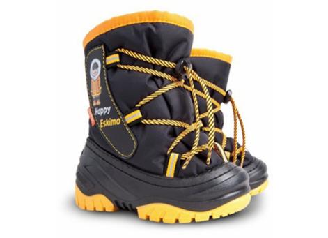 Детские дутики, сноубутсы - DEMAR HAPPY ESCIMO 4035-D, черно-желтые