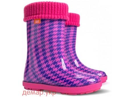 Детские резиновые сапоги - DEMAR HAWAI LUX PRINT-hf 0048, Пепита розовая