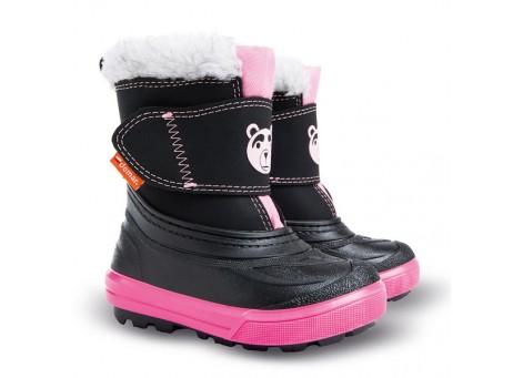 Детские дутики, сноубутсы - DEMAR BEAR 1507-B, черно-розовые